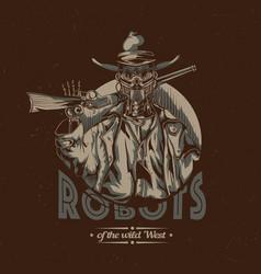 wild west t-shirt label design vector image vector image