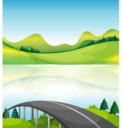 A road bridge near the lake vector