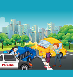 Accident scene with car crash in city vector