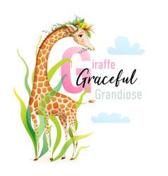 animal abc letter g is for giraffe design vector image