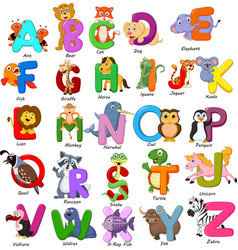animals alphabet set on white background vector image