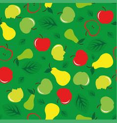 apple and pear seamless pattern green background vector image