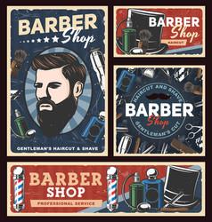 Barbershop posters with poles hairdresser razors vector