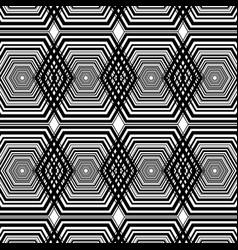 Black and white hexagon geometric pattern vector