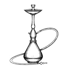 black and white of hookah with hatching vector image