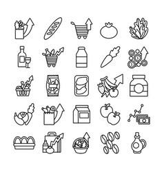 Bundle commodity basket icons vector