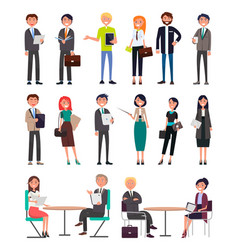 business people in office clothes characters set vector image