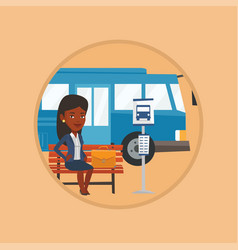 business woman waiting at the bus stop vector image