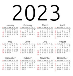 Calendar 2023 sunday vector