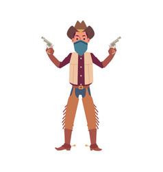 cartoon man in cowboy hat costume and face cover vector image