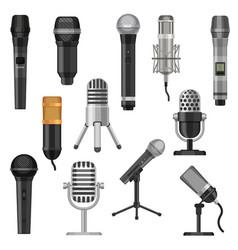 cartoon studio microphones broadcast voice and vector image