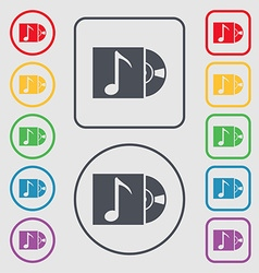 Cd player icon sign Symbols on the Round and vector