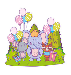 cute and little elephant with mouse vector image