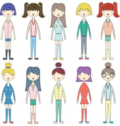 Cute GirlLovely GirlsFashion Style Girl set vector image