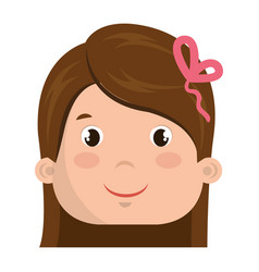 Cute little girl head character vector