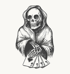 Death with playing cards vector