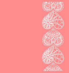 Decorative vertical border from white hearts vector