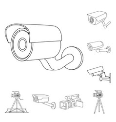 Design of camcorder and camera icon set of vector