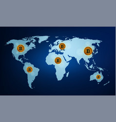 digital currency bitcoin on the world map vector image