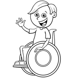 Disabled boy character on wheelchair color book vector