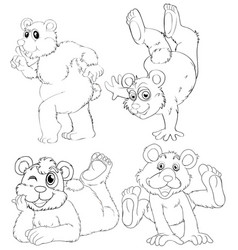 Doodle animal character of grizzly bear vector