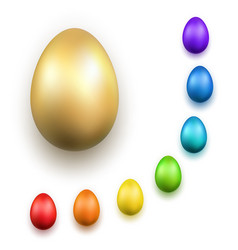 easter egg 3d icons gold color eggs set isolated vector image