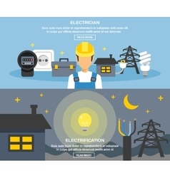 Electricity And Power Banners Set vector