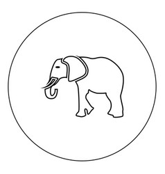 elephant icon black color in circle isolated vector image