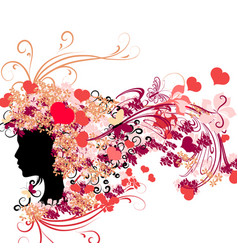 female silhouette with floral hairstyle vector image