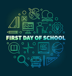 first day school round bright linear vector image