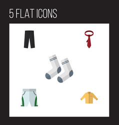 Flat icon garment set of pants banyan cravat and vector