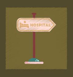 flat shading style icon hospital sign vector image