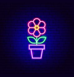 flower in pot neon sign vector image