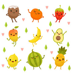 funny emotion on cartoon fruits and vegetables vector image