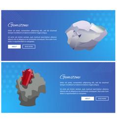 gemstones diamond and garnet metastable crystals vector image