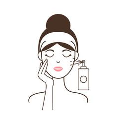 Girl in headband aplies micellar water from spray vector