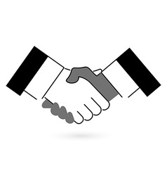 Gray and black handshake icon flat style vector