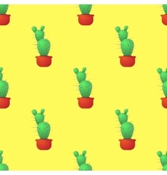 Green Cactus Seamless Pattern vector image