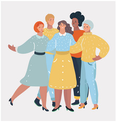 group of smiling women hugging female friendship vector image