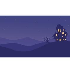 Halloween castle scenery at night vector