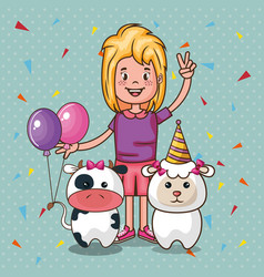 Happy birthday card with little girl vector