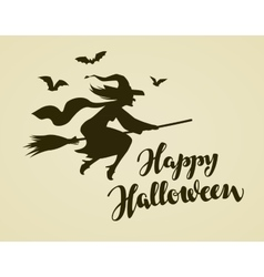 Happy Halloween greeting card Witch flying on vector