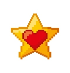 heart love and star pixelated icon vector image