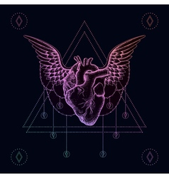 Heart with wings boho color dotwork tattoo vector