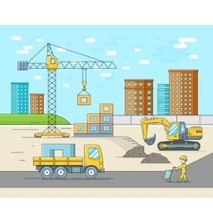 House building in thin line flat style vector