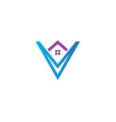 house realty initial v company logo vector image