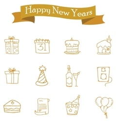 Icon of New Year and Christmas element vector image