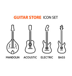 Icon set of acoustic electric guitars and vector