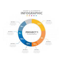 infographic 7 steps pie chart diagram element vector image