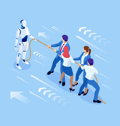 isometric business people and robot fighting with vector image
